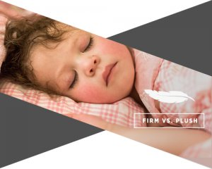 """An image of a baby asleep on a bed with her eyes shit and underneath there is a small chart saying """"firm vs. plush."""""""