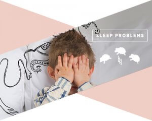 "A little boy on a bed with his hands over his eyes and the text above him reads ""sleep problems"""