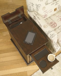 Brown wooden chair side end table with cupholder and outlet