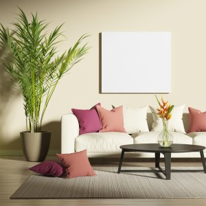 areca palm plan in contemporary living room with beige couch and pink pillows