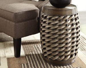 brown rattan accent stool