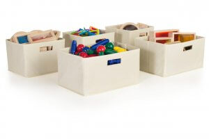 storge bins filled with children toys