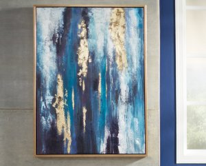 blue and gold painting hanging on wall