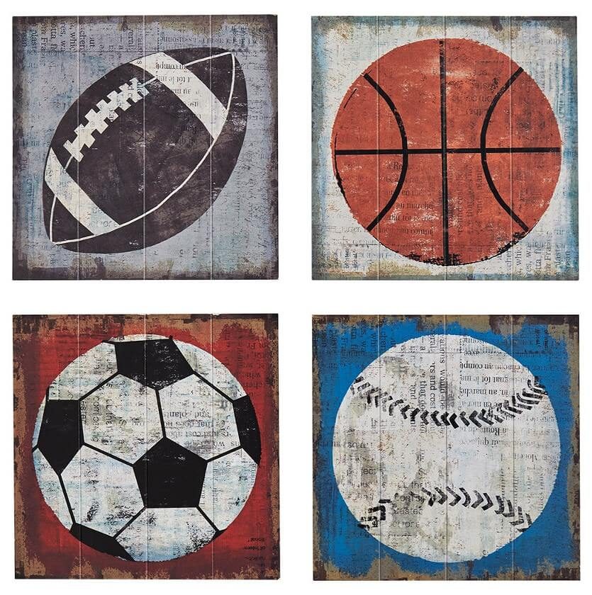 wall art of sports balls