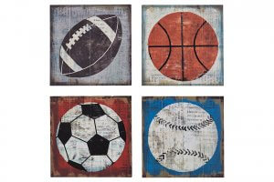 wall art of basketball, football, baseball, and soccer ball