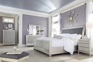 bedroom with silver accents