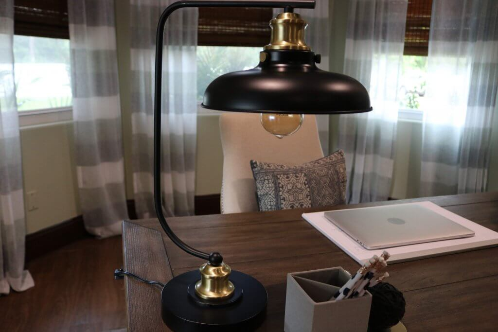 black lamp on desk top