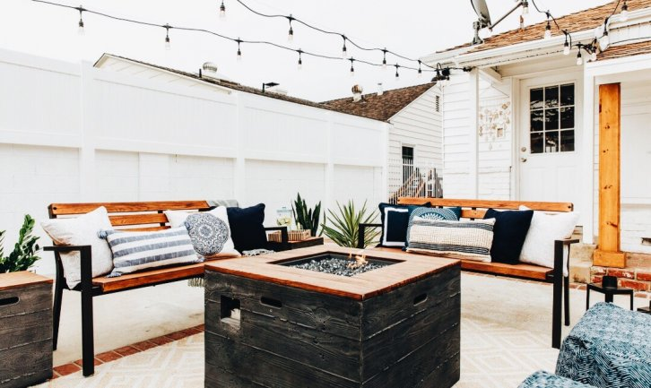 bench and table patio set