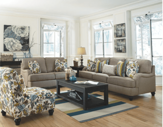 living room with green and blue accents