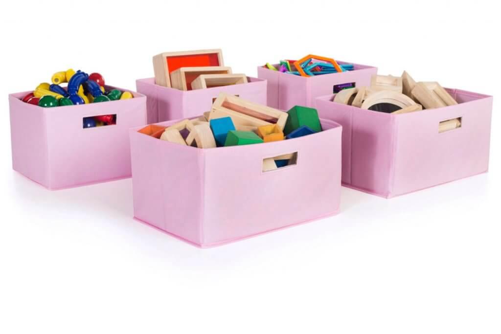 pink storage bins