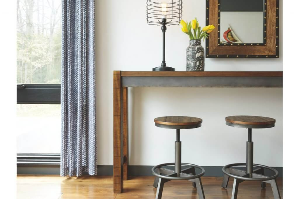 long brown table with brown stools