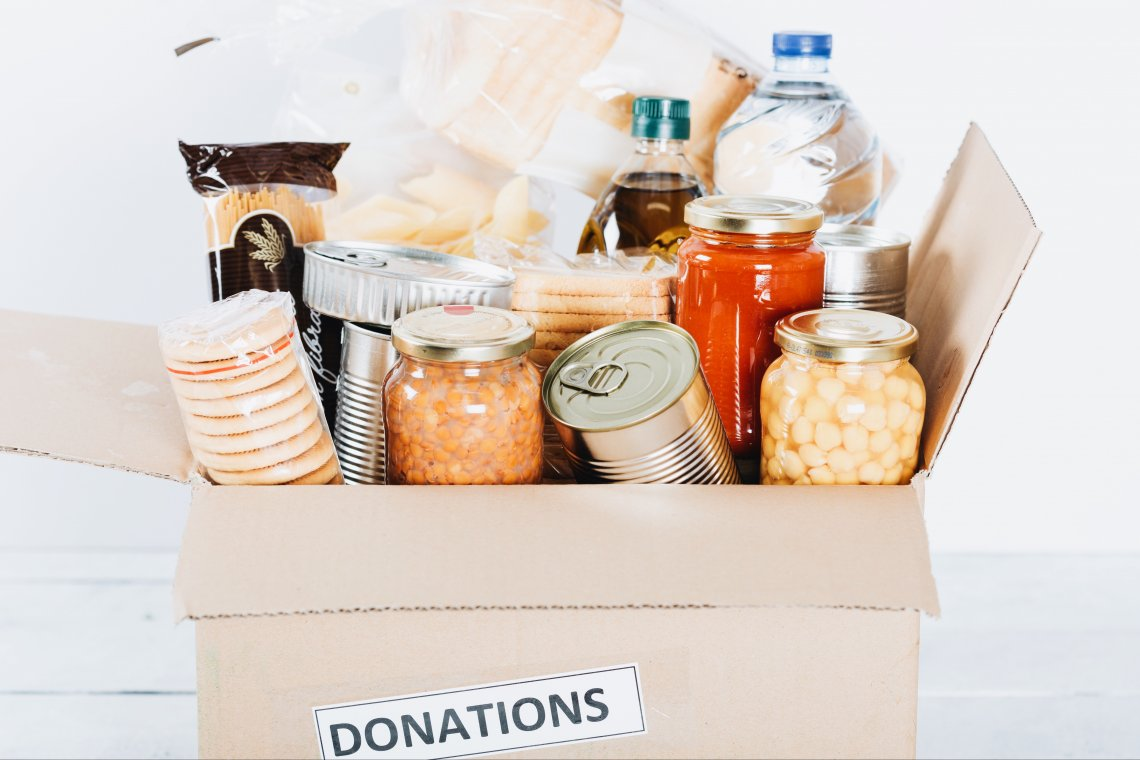 box of food for donations