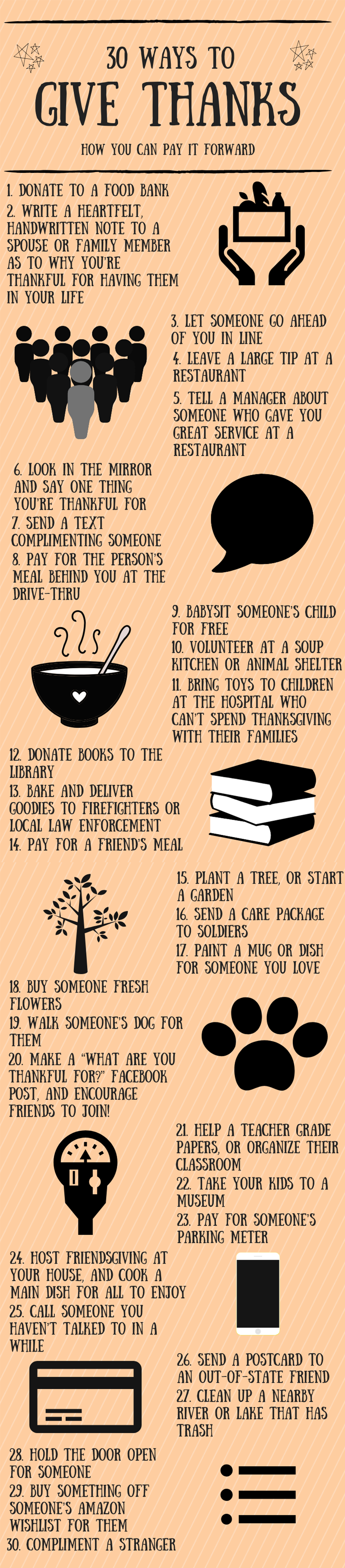 30 ways to give thanks graphic