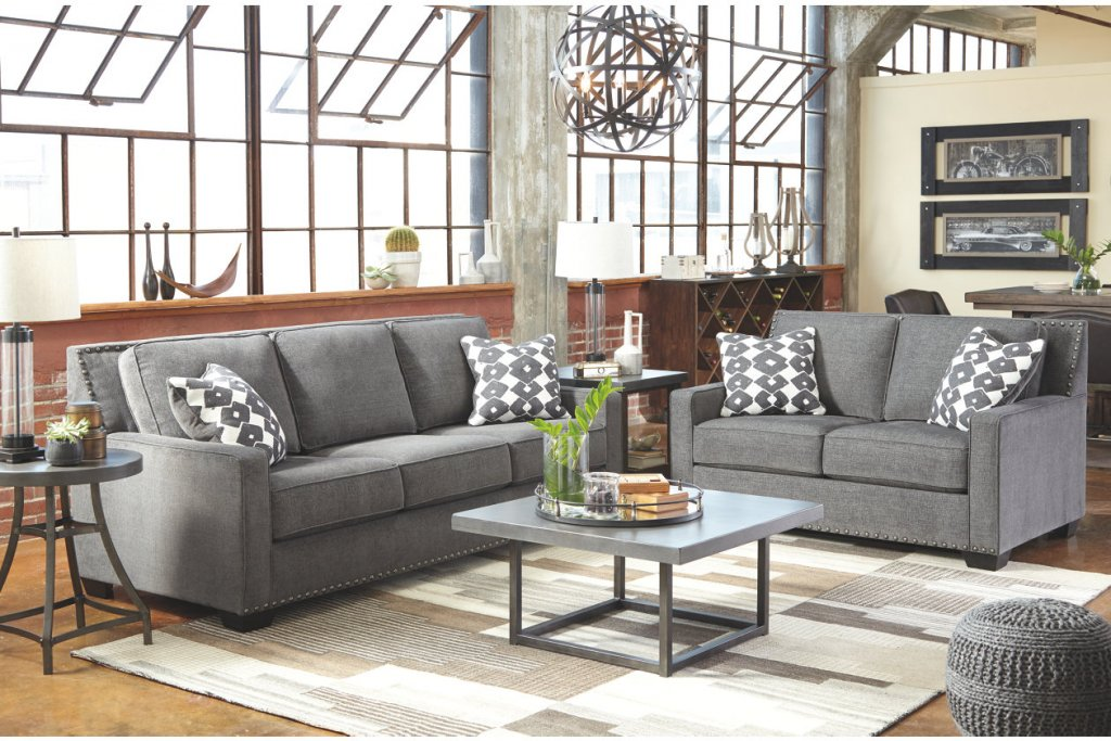 living room with grey couches