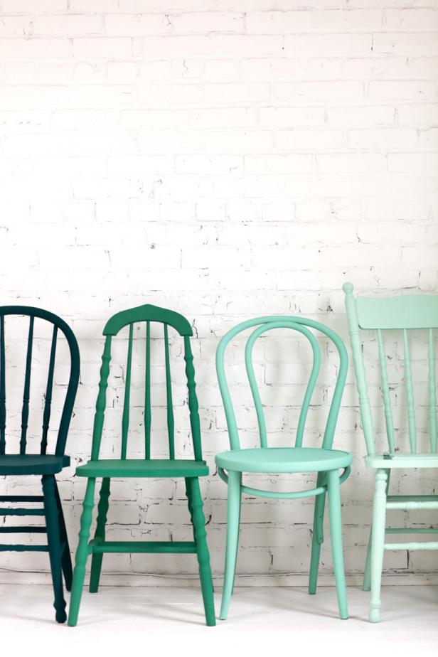 chairs in shades of blue and green