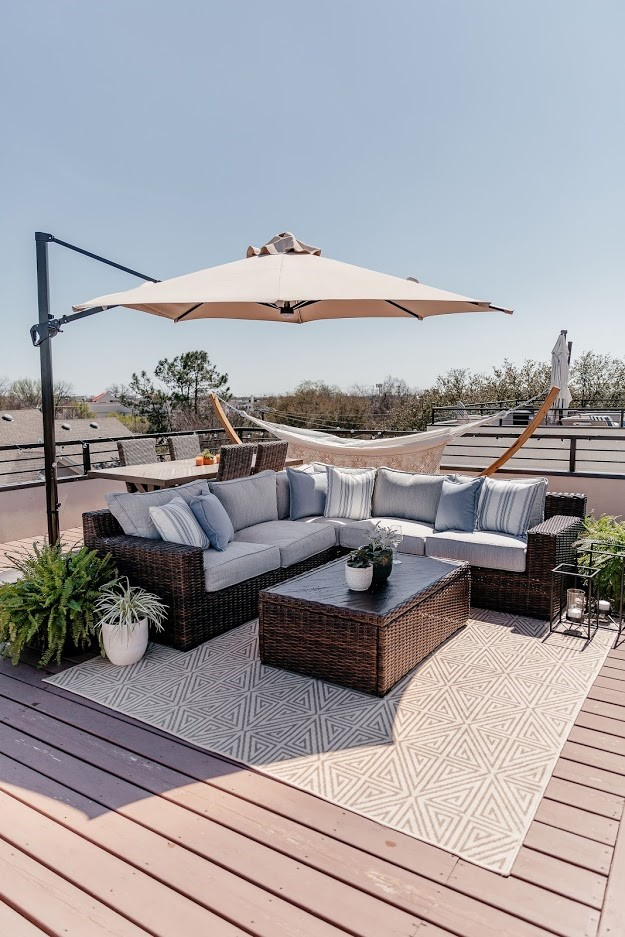 Wide view of patio featuring Ashley product.