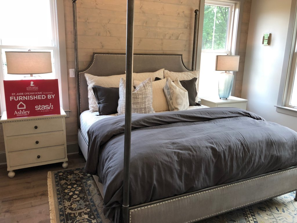 Bedroom furnished by Ashley HomeStore for St. Jude Dream Home Giveaway