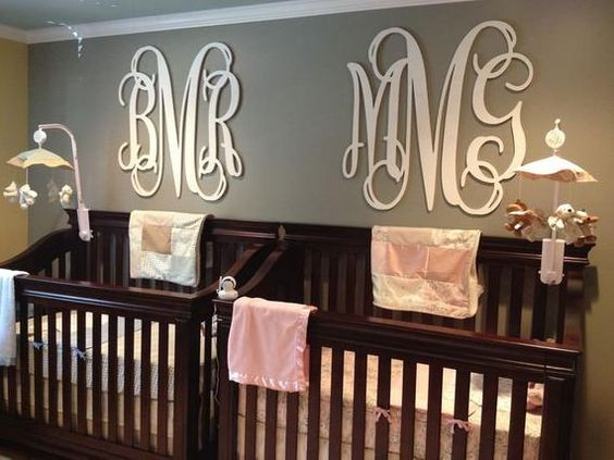 Monogram details in nursery.
