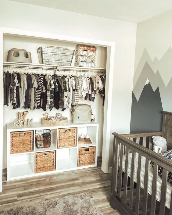 Open closet concept in a small child's room.